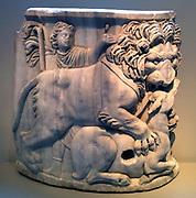 marble corner of a Roman sarcophagus circa 220 AD