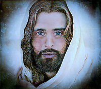 """A million faces of Jesus by Dino Carbetta - Blue & Brown""...<br />