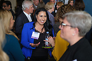 Andrea Brenholz of ATR International talks with others during the Silicon Valley Business Journal's Women of Influence event at the Fairmont San Jose in San Jose, California, on May 16, 2019. (Stan Olszewski for Silicon Valley Business Journal)