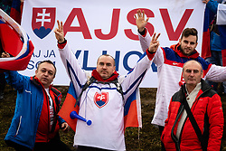 Slovakian fans celebrating in the Finish during the 6th Ladies' Slalom at 55th Golden Fox - Maribor of Audi FIS Ski World Cup 2018/19, on February 2, 2019 in Pohorje, Maribor, Slovenia. Photo by Blaž Weindorfer / Sportida