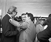 """Bloomsday at Joyce Tower,Sandycove..1972..16.06.1972..06.16.1972..16th June 1972..As part of the Bloomsday celebrations,Joyce Tower,Sandycove was renovated and opened to the public.The tower is an important part of the novel """"Ulysses"""" written by James Joyce.The celebration in part is organised by the Eastern Regional Tourism Organisation..Image of Professor Kevin Sullivan,Columbia University in conversation with Mr Dominic Behan"""