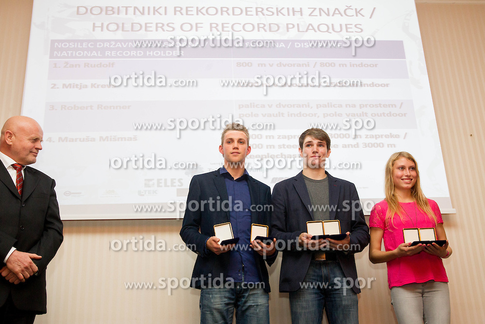 Marjan Hudej, Zan Rudolf, Robert Renner and Marusa Mismas during the Slovenia's Athlete of the year award ceremony by Slovenian Athletics Federation AZS on November 8, 2013 in Grand Hotel Toplice, Bled, Slovenia. Photo by Vid Ponikvar / Sportida