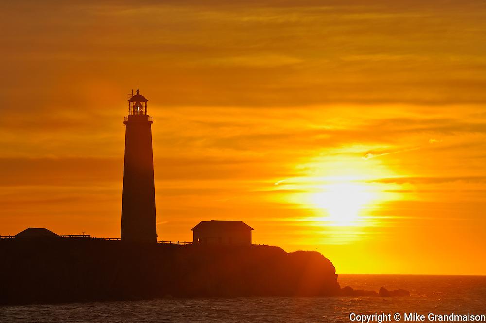 Lighthouse on Atlantic Ocean<br /> Cap des Rosiers<br /> Quebec<br /> Canada