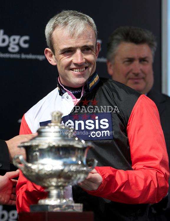 LIVERPOOL, ENGLAND, Thursday, April 7, 2011: Ruby Walsh, winner of the opening race, during Liverpool Day on Day One of the Aintree Grand National Festival at Aintree Racecourse. (Photo by David Tickle/Propaganda)