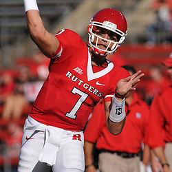 Sep 19, 2009; Piscataway, NJ, USA; Rutgers quarterback Tom Savage (7) warms up before the first half of NCAA college football between Rutgers and Florida International at Rutgers Stadium.