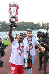 May 20, 2018 - Lisbon, Portugal - Aves' forward Amilton Silva (L) and Aves' goalkeeper Adriano Facchini celebrate with the trophy after winning the Portugal Cup Final football match CD Aves vs Sporting CP at the Jamor stadium in Oeiras, outskirts of Lisbon, on May 20, 2015. (Aves won 2-1) (Credit Image: © Pedro Fiuza/NurPhoto via ZUMA Press)
