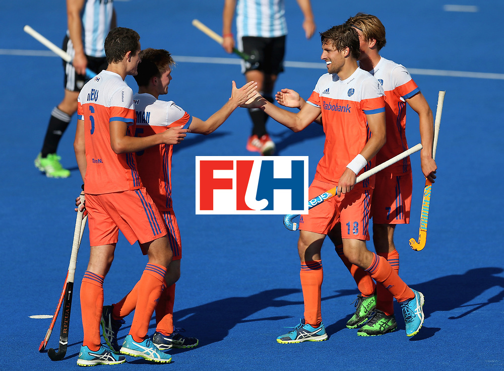 LONDON, ENGLAND - JUNE 25:  Bjorn Kellerman of the Netherlands celebrates scoring their teams sixth goal with teammates during the final match between Argentina and the Netherlands on day nine of the Hero Hockey World League Semi-Final at Lee Valley Hockey and Tennis Centre on June 25, 2017 in London, England.  (Photo by Steve Bardens/Getty Images)
