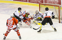 03.03.2015, Stadthalle, Klagenfurt, AUT, EBEL, EC KAC vs Dornbirner Eishockey Club, Qualifikationsrunde, im Bild Jean-Francoir Jacques (EC KAC, #39), Jamie Lundmark (EC KAC, #74), Nathan Lawson (Dornbirner Eishockey Club, #52), Olivier Magnan (Dornbirner Eishockey Club, #2) // during the Erste Bank Icehockey League qualification round match betweeen EC KAC and Dornbirner Eishockey Club at the City Hall in Klagenfurt, Austria on 2015/03/03. EXPA Pictures © 2015, PhotoCredit: EXPA/ Gert Steinthaler