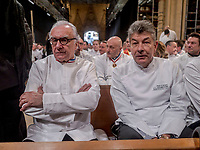 Paul Bocuse's funeral took place in the cathedral St Jean, Lyon.<br /> Alain Ducasse & Regis Marcon, chefs