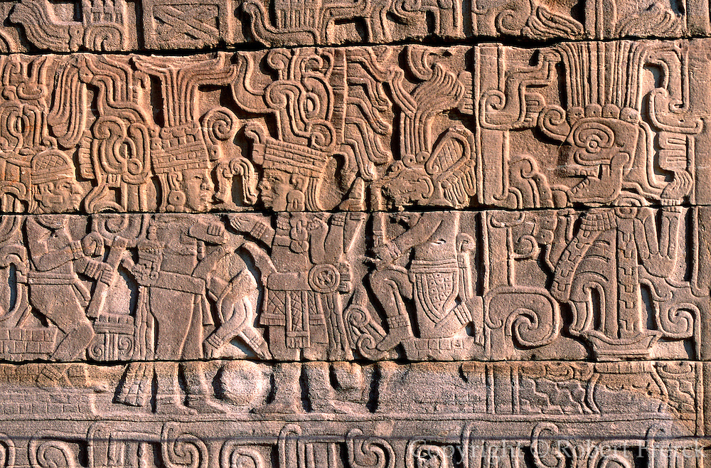 MEXICO, VERACRUZ, EL TAJIN relief of ballplayers and coyote figure