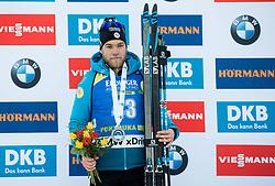 Second placed Antonin Guigonnat (FRA) celebrates at medal ceremony after the Men 10km Sprint at day 6 of IBU Biathlon World Cup 2018/19 Pokljuka, on December 7, 2018 in Rudno polje, Pokljuka, Pokljuka, Slovenia. Photo by Vid Ponikvar / Sportida