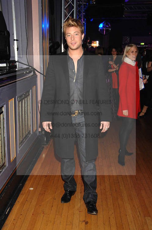 Singer DUNCAN JAMES at a party to celebrate the launch of the new purple Sony Ericsson K770i phone held at the Bloomsbury Ballroom, Bloomsbury Square, London on 24th October 2007.<br />