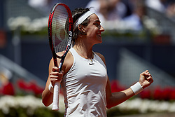 May 10, 2018 - Madrid, Madrid, Spain - Caroline Garcia of France celebrates the victory in her match against Carla Suarez Navarro of Spain during day six of the Mutua Madrid Open tennis tournament at the Caja Magica on May 10, 2018 in Madrid, Spain  (Credit Image: © David Aliaga/NurPhoto via ZUMA Press)