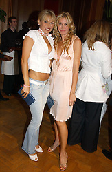 Left to right, DIANA JENKINS and MELISSA ODABASH at '4 Inches' a project 'For Women about Women By Women' - A photographic Auction in aid of the Elton John Aids Foundation hosted by Tamara Mellon President of Jimmy Choo and Arnaud Bamberger MD of Cartier UK at Christie's, 8 King Street, London W1 on 25th May 2005.<br />