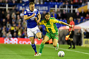 Birmingham City midfielder David Davis (26) battles for possession  with West Bromwich Albion striker Jay Rodriguez (19) during the EFL Sky Bet Championship match between Birmingham City and West Bromwich Albion at St Andrews, Birmingham, England on 14 September 2018.