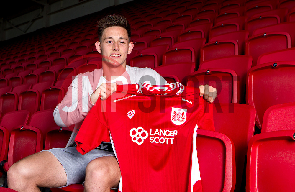 New Bristol City signing Josh Brownhill poses for a picture with a Bristol City shirt- Mandatory by-line: Robbie Stephenson/JMP - 31/05/2016 - FOOTBALL - Ashton Gate - Bristol, England - Bristol City New Signing - Josh Brownhill
