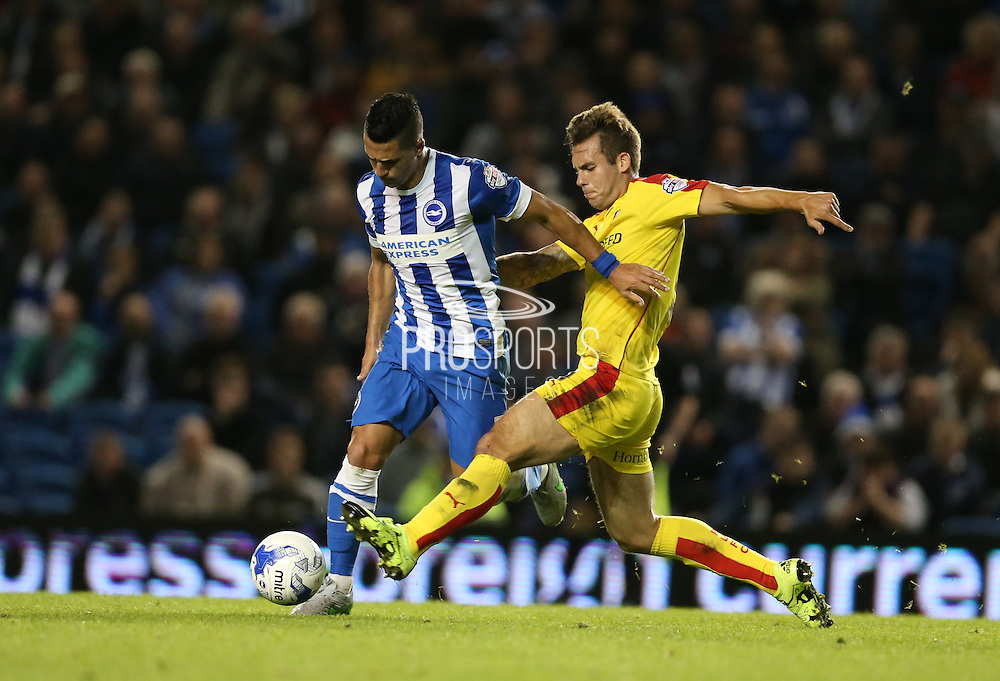 Rotherham United defender (and former Brighton player) Joe Mattock tackles Brighton central midfielder, Beram Kayal during the Sky Bet Championship match between Brighton and Hove Albion and Rotherham United at the American Express Community Stadium, Brighton and Hove, England on 15 September 2015.