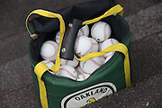 ANAHEIM, CA - JULY 21:  An Oakland Athletics baseball bag lies on the dugout steps during the game against the Los Angeles Angels of Anaheim on Sunday, July 21, 2013 at Angel Stadium in Anaheim, California. The Athletics won the game in a 6-0 shutout. (Photo by Paul Spinelli/MLB Photos via Getty Images)