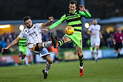 Forest Green Rovers Christian Doidge(9) and Port Vale's Joe Davis(5) during the EFL Sky Bet League 2 match between Forest Green Rovers and Port Vale at the New Lawn, Forest Green, United Kingdom on 6 January 2018. Photo by Shane Healey.
