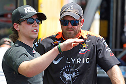 BAKERSFIELD, CA - MAY 24:  Jesse Little driver of the #97 NASCAR Technical Institute Chevrolet talks to crew chief Kris Bowen during practice before the NASCAR K&N Pro Series West Armed Forces 150 at the Kern County Raceway Park on May 24, 2014 in Bakersfield, California. (Photo by Jason O. Watson/Getty Images for NASCAR) *** Local Caption *** Jesse Little; Kris Bowen