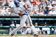 May 22, 2014; Detroit, MI, USA; Texas Rangers third baseman Adrian Beltre (29) hits a two RBI double in the third inning against the Detroit Tigers at Comerica Park. Mandatory Credit: Rick Osentoski-USA TODAY Sports