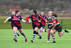 Merryn Doidge offloads the ball to Phoebe Murray of Bristol Bears Women - Mandatory by-line: Paul Knight/JMP - 11/01/2020 - RUGBY - Shaftesbury Park - Bristol, England - Bristol Bears Women v Firwood Waterloo Women - Tyrrells Premier 15s