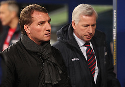 Liverpool Manager, Brendan Rodgers and Crystal Palace Manager Alan Pardew - Photo mandatory by-line: Robbie Stephenson/JMP - Mobile: 07966 386802 - 14/02/2015 - SPORT - Football - London - Selhurst Park - Crystal Palace v Liverpool - FA Cup - Fifth Round