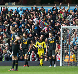 BIRMINGHAM, ENGLAND - Easter Sunday, March 31, 2013: Liverpool's goalkeeper Jose Reina looks dejected as Aston Villa score the opening goal during the Premiership match at Villa Park. (Pic by David Rawcliffe/Propaganda)