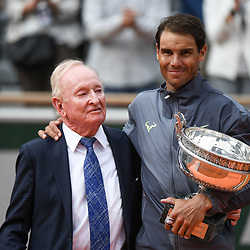Rafael Nadal (SPA) and Rod Laver during the men Final of Roland Garros on June 9, 2019 in Paris, France. (Photo by Anthony Dibon/Icon Sport)