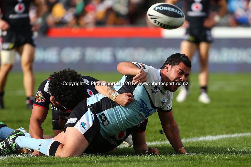 Andrew Fifita of the Sharks scores a try during the NRL game, Vodafone Warriors v Cronulla Sharks, Mt Smart Stadium, Auckland, Sunday 5 August  2012. Photo: Simon Watts /photosport.co.nz
