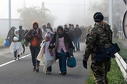 Licensed to London News Pictures. 24/10/2015. Sentilj, Slovenia. Migrants are walking to the border crossing to Spielfeld, Austria. Slovenian military is watching migrants as they go to the border. Photo: Marko Vanovsek/LNP
