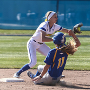 Hofstra University Utility Player Nikki Michalowski (11) gets called out at second base during a Colonial Athletic Association regular season softball game between Delaware and Hofstra Saturday, April 16, 2016, at Delaware softball stadium in Newark, Delaware.