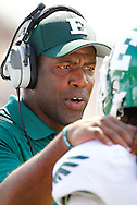WEST LAFAYETTE, IN - SEPTEMBER 15:  Head coach of the Eastern Michigan Eagles Ron English talks to a player on the sidelines against the Purdue Boilermakers at Ross-Ade Stadium on September 15, 2012 in West Lafayette, Indiana. (Photo by Michael Hickey/Getty Images)***Local Caption***Ron English