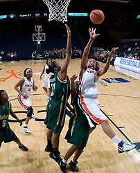 Virginia Cavaliers Forward Lyndra Littles (1) grabs a rebound against South Florida.  The Virginia Cavaliers defeated the South Florida Bulls 73-71 in the third round of the Women's NIT held at John Paul Jones Arena in Charlottesville, VA on March 22, 2007.