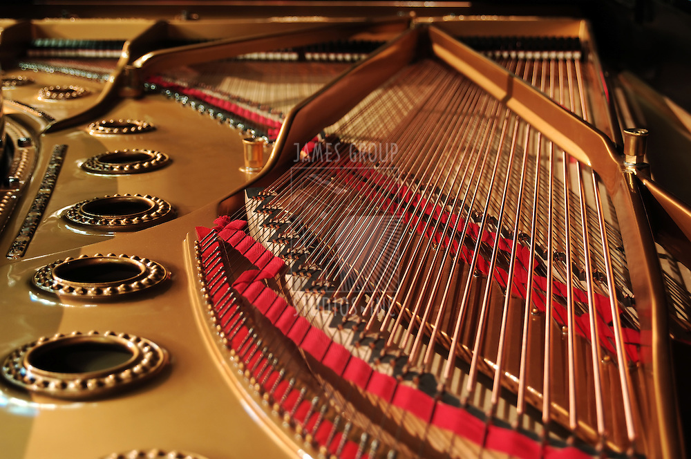 interior of a concert grand piano - wide orientation