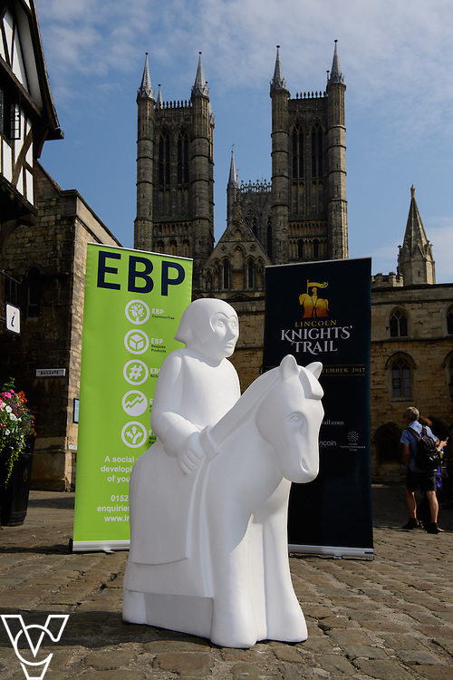The Lincoln Knights&rsquo; Trail Education Programme - The EBP has been appointed as the official education partner for the 2017 Lincoln Knights&rsquo; Trail.  Pictured is a half sized knight which is part of the education programme in front of Lincoln Cathedral<br /> <br /> Picture: Chris Vaughan Photography for The EBP<br /> Date: September 14, 2016