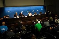 28.08.2013, FIFA Hauptsitz Zuerich, SUI, FIFA Pressekonferenz, im Bild Usain Bolt zu Besuch bei der FIFA; Uebersicht Pressekonferenz FIFA Praesident Josef S. Blatter und Usain Bolt (JAM) // during a pressconference at the FIFA Hauptsitz Zuerich, Switzerland on 2013/08/28. EXPA Pictures © 2013, PhotoCredit: EXPA/ Freshfocus/ Valeriano Di Domenico<br /> <br /> ***** ATTENTION - for AUT, SLO, CRO, SRB, BIH only *****