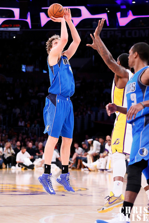 12 April 2014: Dallas Mavericks forward Dirk Nowitzki (41) takes a jump shot during the Dallas Mavericks 120-106 victory over the Los Angeles Lakers, at the Staples Center, Los Angeles, California, USA.