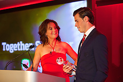 CARDIFF, WALES - Monday, October 6, 2014: Frances Donovan interviews Gareth Bale after the presentation of the Fans' Player of the Year Award the FAW Footballer of the Year Awards 2014 held at the St. David's Hotel. (Pic by David Rawcliffe/Propaganda)