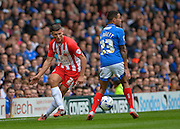Matty Pearson and Kyle Bennett during the Sky Bet League 2 match between Portsmouth and Accrington Stanley at Fratton Park, Portsmouth, England on 5 September 2015. Photo by Adam Rivers.
