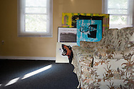 Posters and paintings in a living room. Cleveland, USA, 2011