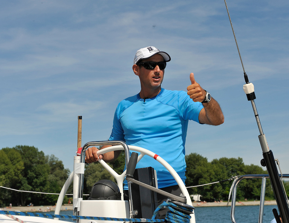 Thumbs up for Bruni after his victory in Match Race Germany. Photo: Chris Davies/WMRT