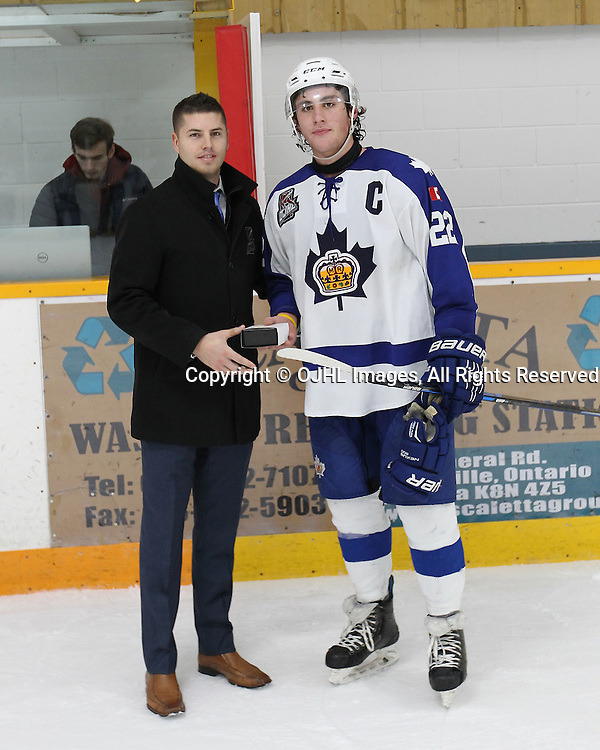 TRENTON, ON  - JAN 24,  2017: Ontario Junior Hockey League game between the Toronto Patriots and the Orangeville Flyers at the 2017 Winter Showcase. Lucas Condotta #22 of the Markham Royals receives the player of the game ward from Brent Garbutt Director of Hockey Operations OJHL.<br /> (Photo by Tim Bates / OJHL Images)