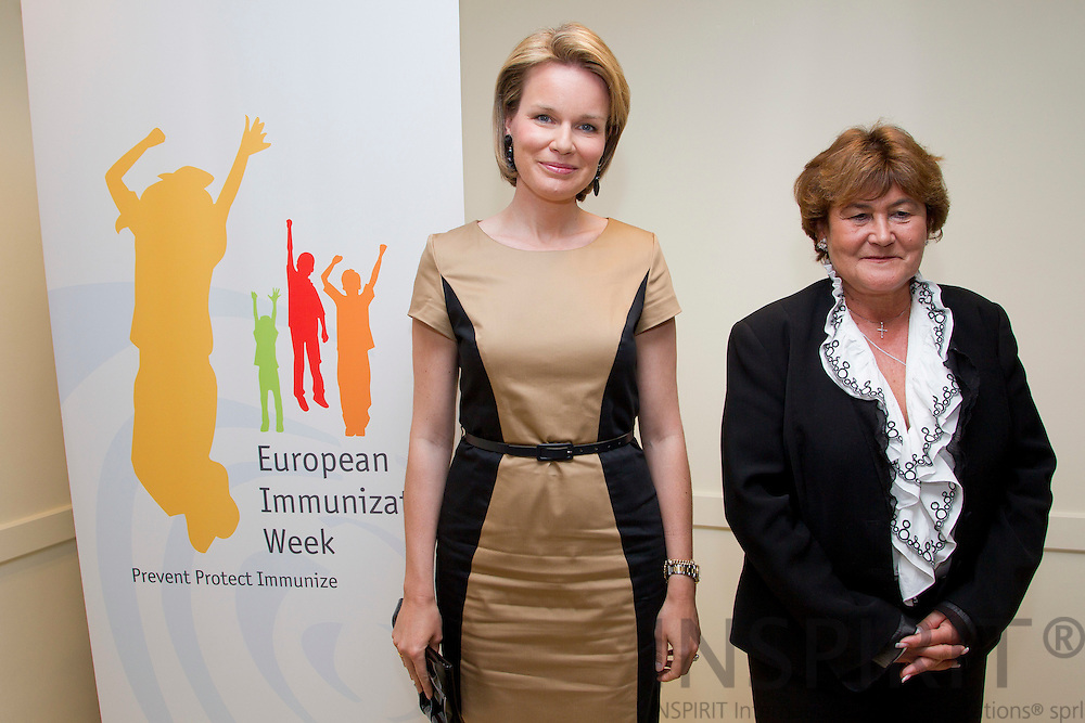 BRUSSELS - BELGIUM - 26 APRIL 2011 - - WHO European Immunization Week 2011 - - From left Her Royal Highness Princess Mathilde of Belgium and Zsuzsanna Jakab, Regional Director, WHO Regional Office for Europe.  Photo: Erik Luntang / INSPIRIT Photo
