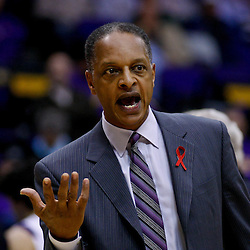 November 30, 2010; Baton Rouge, LA, USA;  LSU Tigers head coach Trent Johnson during a game against the Houston Cougars at the Pete Maravich Assembly Center. LSU defeated Houston 73-57. Mandatory Credit: Derick E. Hingle