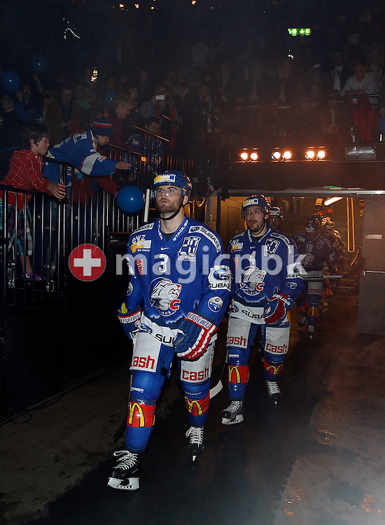 ZSC Lions defenders Steve McCarthy (L) and Patrick Geering walk in the arena prior to ice hockey game two of the Swiss National League A (Season 2011-2012) Playoff Final between ZSC Lions (ZSC) and SC Bern (SCB) held at the Hallenstadion in Zurich, Switzerland, Thursday, April 5, 2012. (Photo by Patrick B. Kraemer / MAGICPBK)