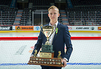 REGINA, SK - MAY 26: Sportsman of the Year Aleksi Heponiemi of Swift Current Broncos at the Brandt Centre on May 26, 2018 in Regina, Canada. (Photo by Marissa Baecker/CHL Images)