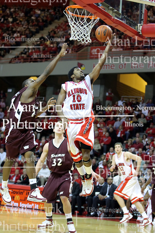 05 January 2008: Dom Johnson lays one on the glass. The Redbirds of Illinois State took the bite out of the Salukis of Southern Illinois winning the Conference home opener for the 'birds on Doug Collins Court in Redbird Arena in Normal Illinois by a score of 56-47.