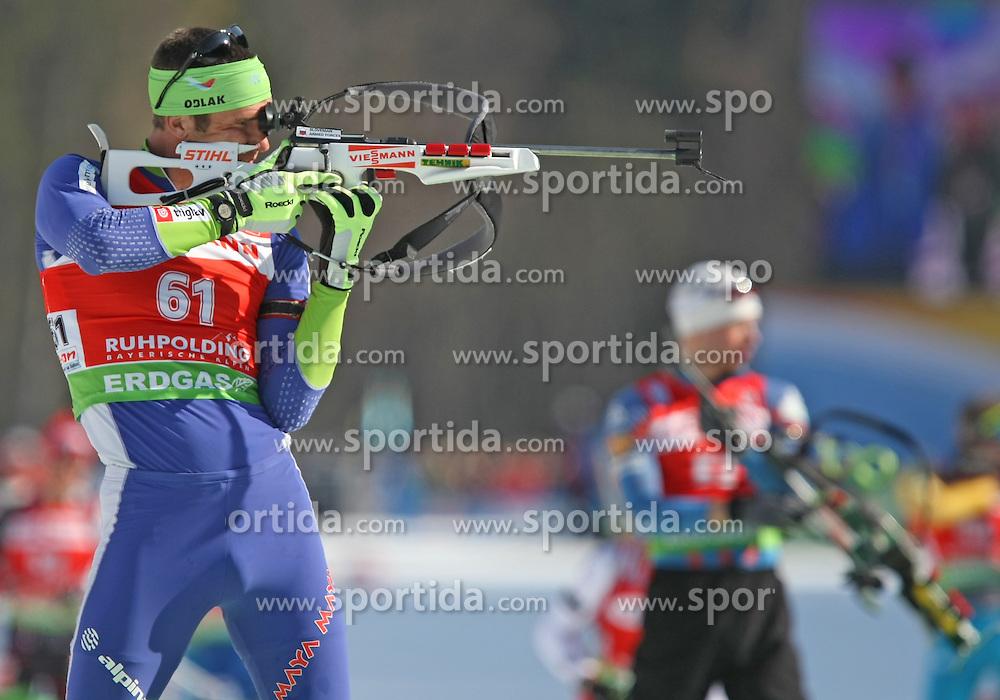 03/03/2012, Ruhpolding, Germany. Vasja RUPNIK (SLO) in action during the Biathlon World Championships 2012 - Sprint Men 10 km  .© Pierre Teyssot / Sportida.com