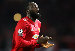 Romelu Lukaku of Manchester United thanks the fans - Mandatory by-line: Matt McNulty/JMP - 31/10/2017 - FOOTBALL - Old Trafford - Manchester, England - Manchester United v Benfica - UEFA Champions League Group A